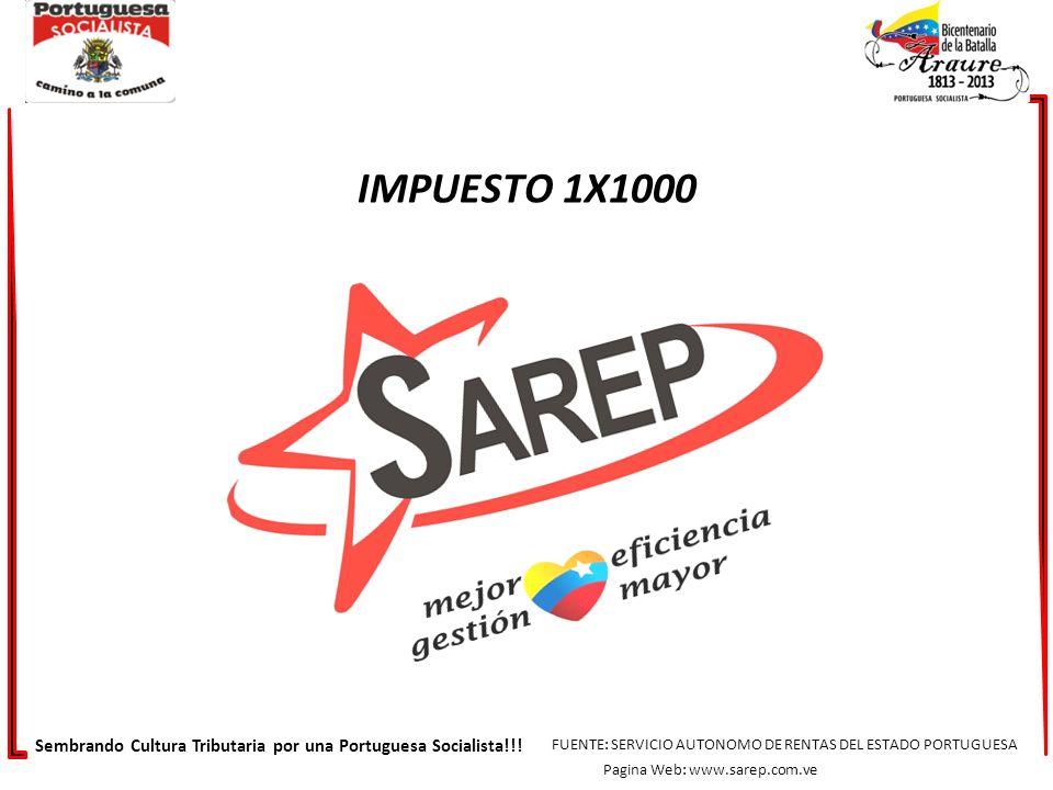 DESCRIPCION DE INGRESO2013 ESTAMPILLAS Y PAPEL SELLADO 8.807.422,34 REGISTROS Y DIRECCIONES DE HACIENDA MULTAS Y OTROS INGRESOS 5.918.840,73 IMPUESTO 1 X 1000 4.073.453,13 Sembrando Cultura Tributaria por una Portuguesa Socialista!!.