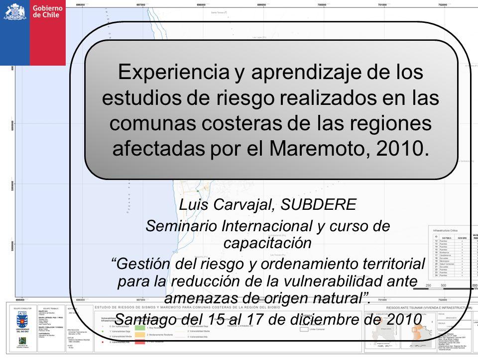 CATEGORÍA Definición de vulnerabilidad EQUIPAMIENTO CRITICO SALUD centro atencionpostaconsultoriohospital EDUCACIÓN- ESCUELAS 0-100 matriculas 101-250 matriculas 251-500 matriculas >500 matriculas CARABINEROS retentenenciacomisaria BOMBEROS bomberos ARMADA centro de personalalcaldia de mar capitania puerto MUNICIPAL oficina municipal municipalidad EQUIPAMIENTO ECONOMICO CALETAS caleta BANCOS banco SUPERMERCADOS supermercado BOMBA DE BENCINA bomba bencina OTROS economia otro EQUIPAMIENTO OTROS EDUCACION- JARDINES jardin infantil EDUCACIÓN-OTROS educacion otro JUNTA VECINOS junta vecinos CULTO iglesia DEPORTE CANCHAGIMNASIOESTADIO GOBIERNO gobierno otro OTROS equipamiento otro GRADO 01234 Sin vuln.medio-bajomediomedio-altoalto Población Infraestructura Construcciones vivienda Equipamiento