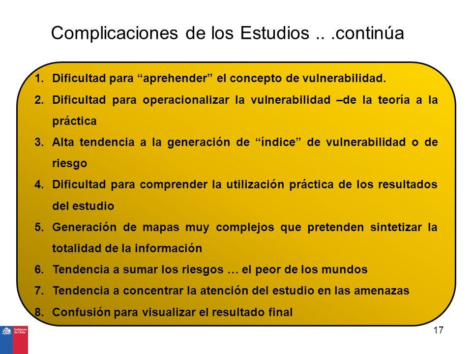 Complicaciones de los Estudios...continúa 1.Dificultad para aprehender el concepto de vulnerabilidad. 2.Dificultad para operacionalizar la vulnerabili