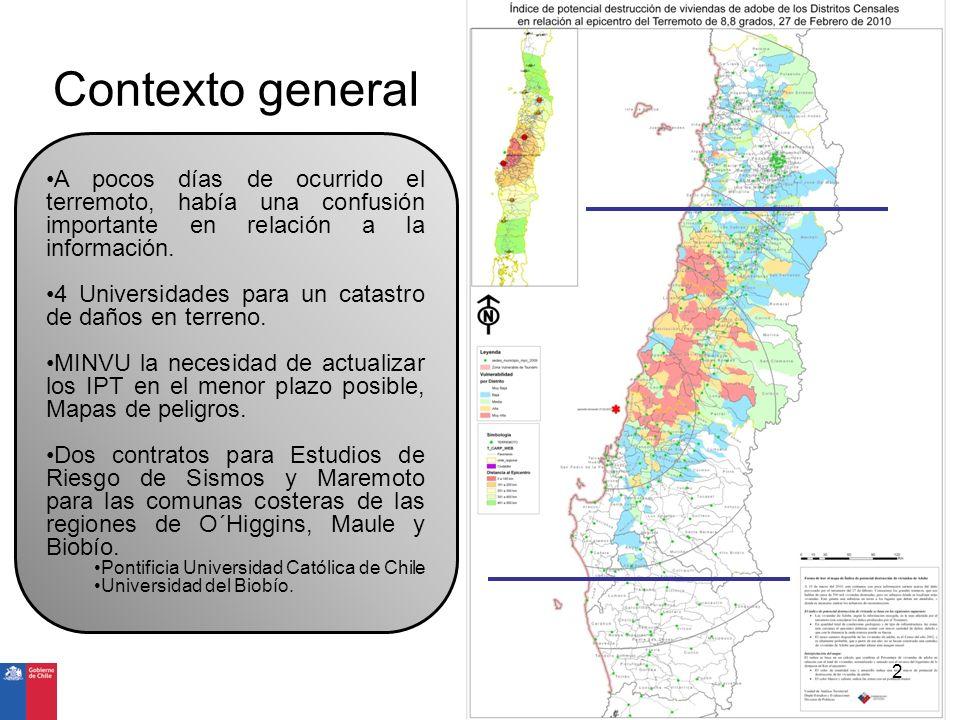 Contexto general A pocos días de ocurrido el terremoto, había una confusión importante en relación a la información. 4 Universidades para un catastro