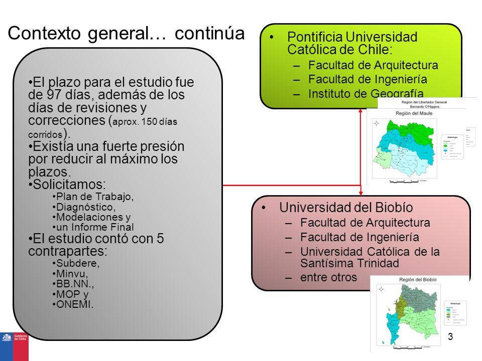 El producto solicitado 4 Mapas de Riesgo (Amenazas – Instrumentos de Planificación Territorial) Recomendaciones para los IPT Mapas de riesgo (amenaza * vulnerabilidad) ante Maremotos, Inundación fluvial, Remoción en masa, sismos, entre otros Recomendaciones en materia de OT