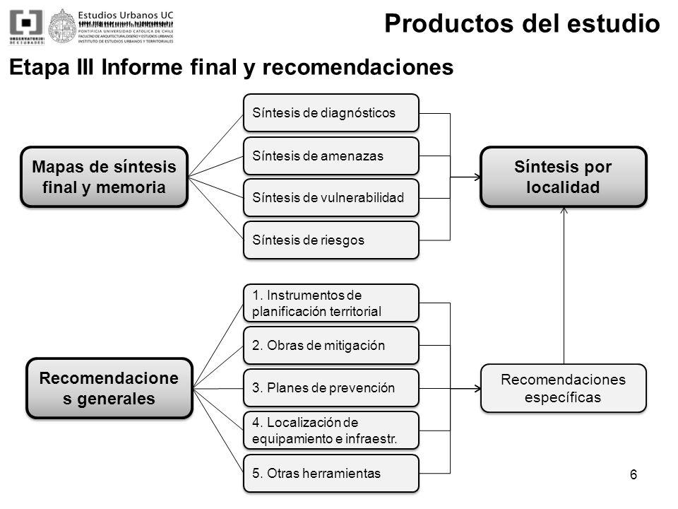 Productos del estudio Mapas de síntesis final y memoria Recomendacione s generales Recomendaciones específicas 1. Instrumentos de planificación territ