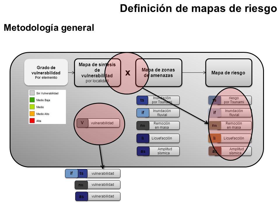 Mapa de síntesis de vulnerabilidad por localidad Grado de vulnerabilidad Por elemento Grado de vulnerabilidad Por elemento Mapa de zonas de amenazas M