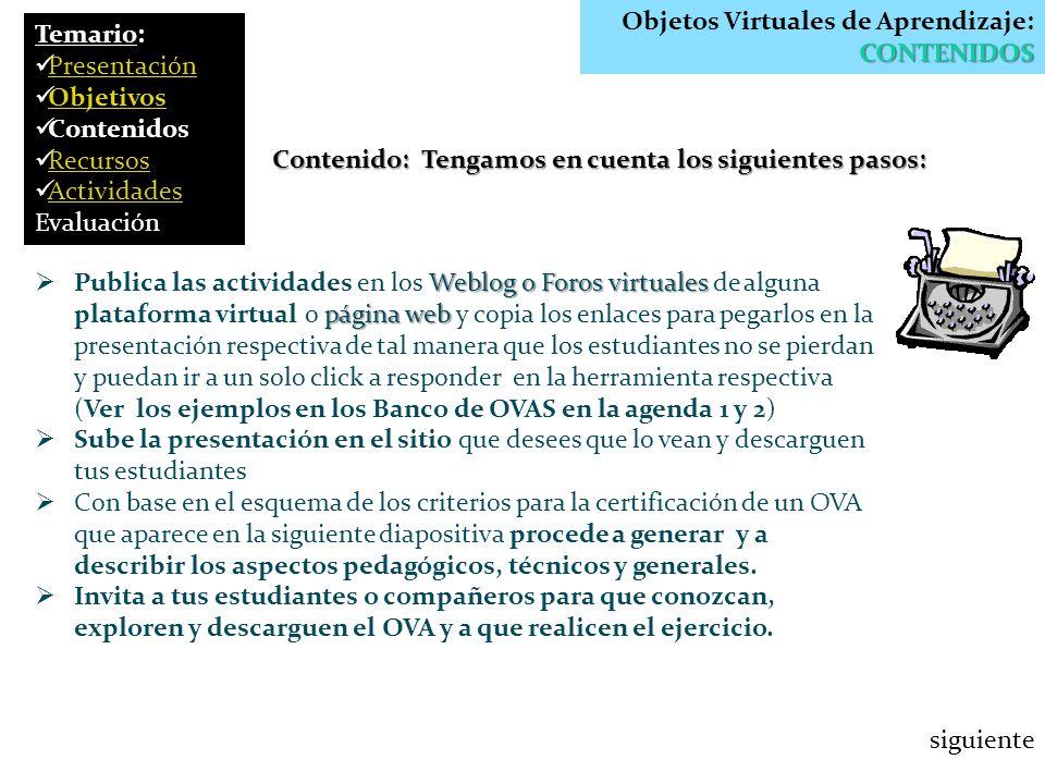 CONTENIDOS Objetos Virtuales de Aprendizaje: CONTENIDOS Contenido: Tengamos en cuenta los siguientes pasos: Weblog o Foros virtuales página web Public