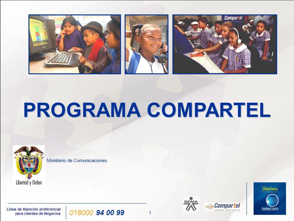 12 Línea de Atención preferencial para clientes de Negocios 018000 94 00 99 Proyectos - Conectividad Evolución de hábitos de consumo COMPARTEL