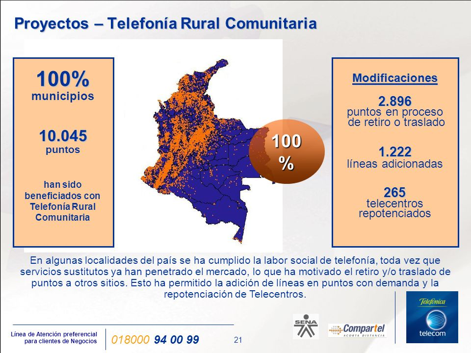 21 Línea de Atención preferencial para clientes de Negocios 018000 94 00 99 Proyectos – Telefonía Rural Comunitaria En algunas localidades del país se
