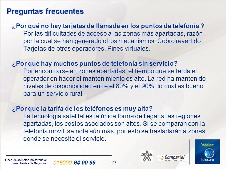 27 Línea de Atención preferencial para clientes de Negocios 018000 94 00 99 ¿Por qué no hay tarjetas de llamada en los puntos de telefonía ? Por las d