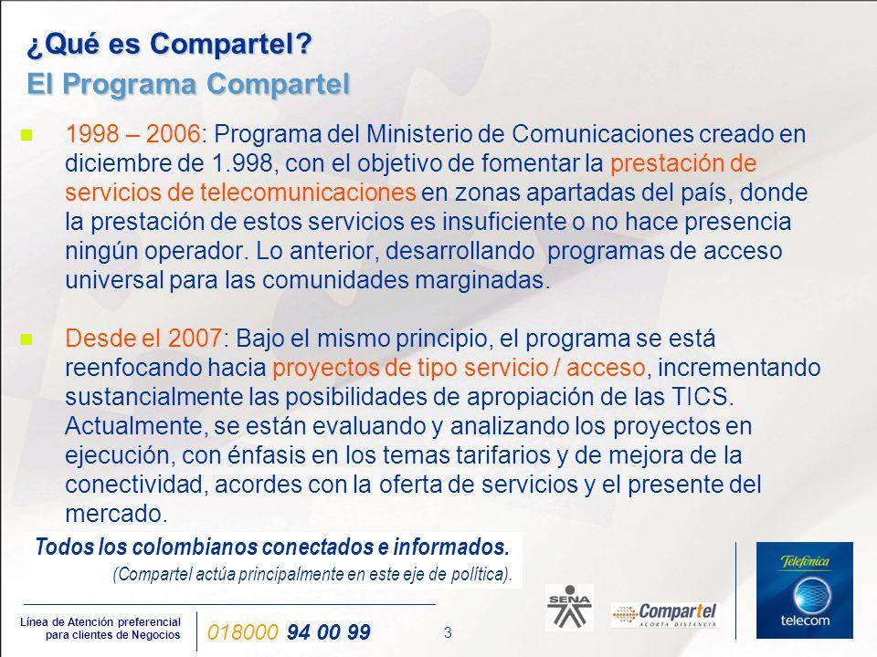 14 Línea de Atención preferencial para clientes de Negocios 018000 94 00 99 Proyectos - Conectividad Proyectos - Conectividad Programa Compartel de Conectividad Nacional UT Comsat Intl - Inalámbrica UT Coldecón E- América OPERADORES (6) INSTITUCIONES (15.525) Internet por Colombia S.A Internet por Colombia S.A UT Comsat UT Comsat Internet por América Internet por América