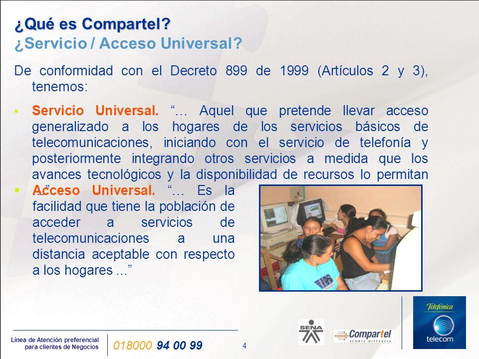 4 Línea de Atención preferencial para clientes de Negocios 018000 94 00 99 ¿Qué es Compartel? ¿Qué es Compartel? ¿Servicio / Acceso Universal? De conf