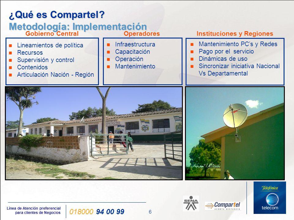 6 Línea de Atención preferencial para clientes de Negocios 018000 94 00 99 Infraestructura Capacitación Operación Mantenimiento Mantenimiento PCs y Re