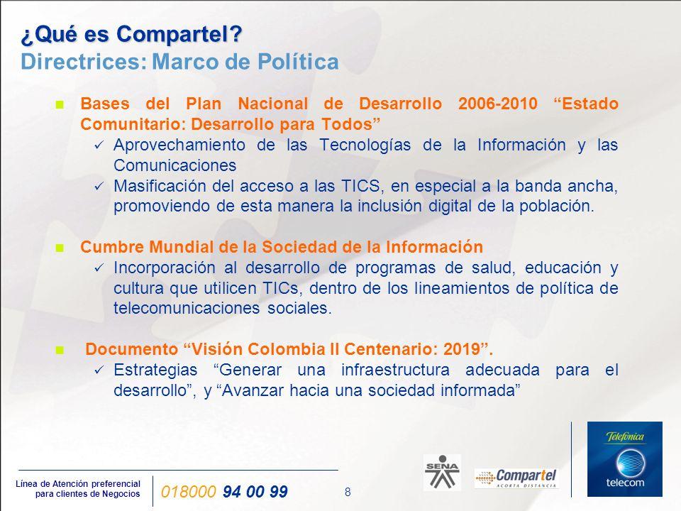 29 Línea de Atención preferencial para clientes de Negocios 018000 94 00 99 Ministerio de Comunicaciones www.mincomunicaciones.gov.co www.compartel.gov.co