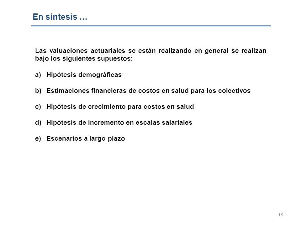13 En síntesis … Las valuaciones actuariales se están realizando en general se realizan bajo los siguientes supuestos: a)Hipótesis demográficas b)Esti