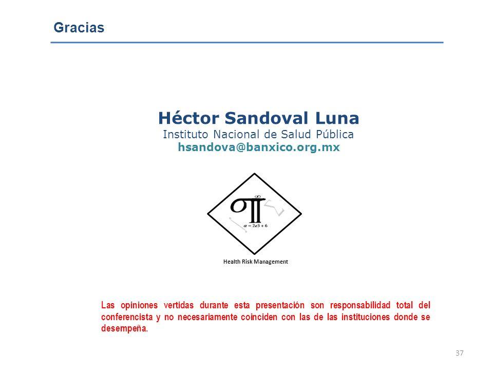 37 Héctor Sandoval Luna Instituto Nacional de Salud Pública hsandova@banxico.org.mx Las opiniones vertidas durante esta presentación son responsabilid