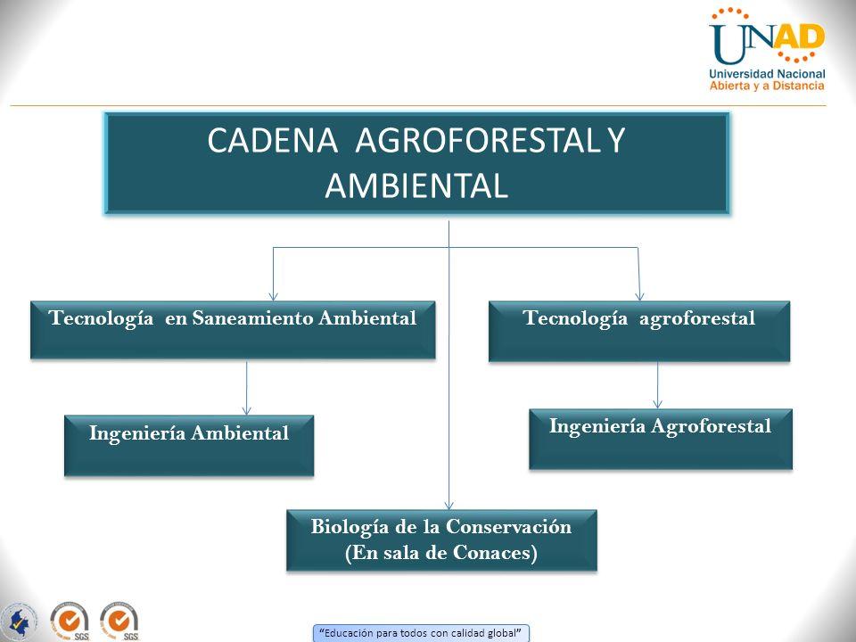 Educación para todos con calidad global CADENA AGROFORESTAL Y AMBIENTAL Tecnología en Saneamiento Ambiental Tecnología agroforestal Tecnología agrofor