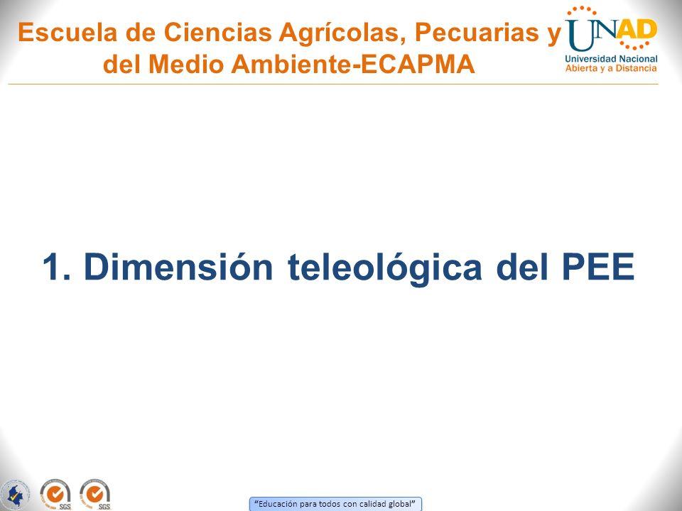 Educación para todos con calidad global Escuela de Ciencias Agrícolas, Pecuarias y del Medio Ambiente-ECAPMA 1. Dimensión teleológica del PEE