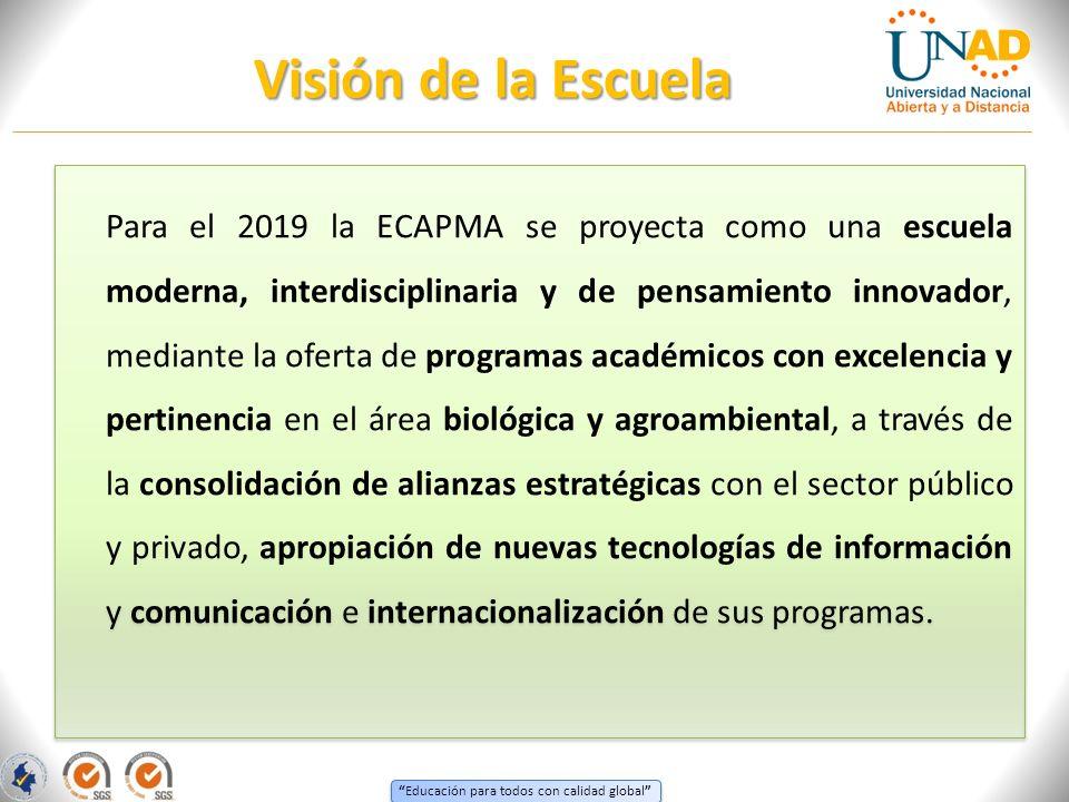 Educación para todos con calidad global Para el 2019 la ECAPMA se proyecta como una escuela moderna, interdisciplinaria y de pensamiento innovador, me