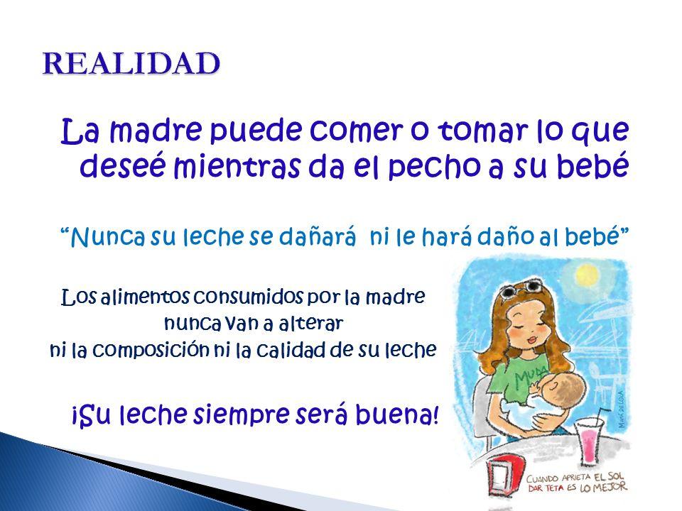 La madre puede comer o tomar lo que deseé mientras da el pecho a su bebé Nunca su leche se dañará ni le hará daño al bebé Los alimentos consumidos por la madre nunca van a alterar ni la composición ni la calidad de su leche ¡Su leche siempre será buena!