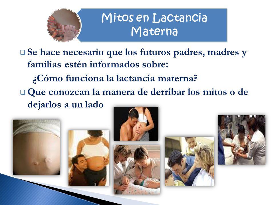 Mitos en Lactancia Materna Se hace necesario que los futuros padres, madres y familias estén informados sobre: ¿Cómo funciona la lactancia materna.