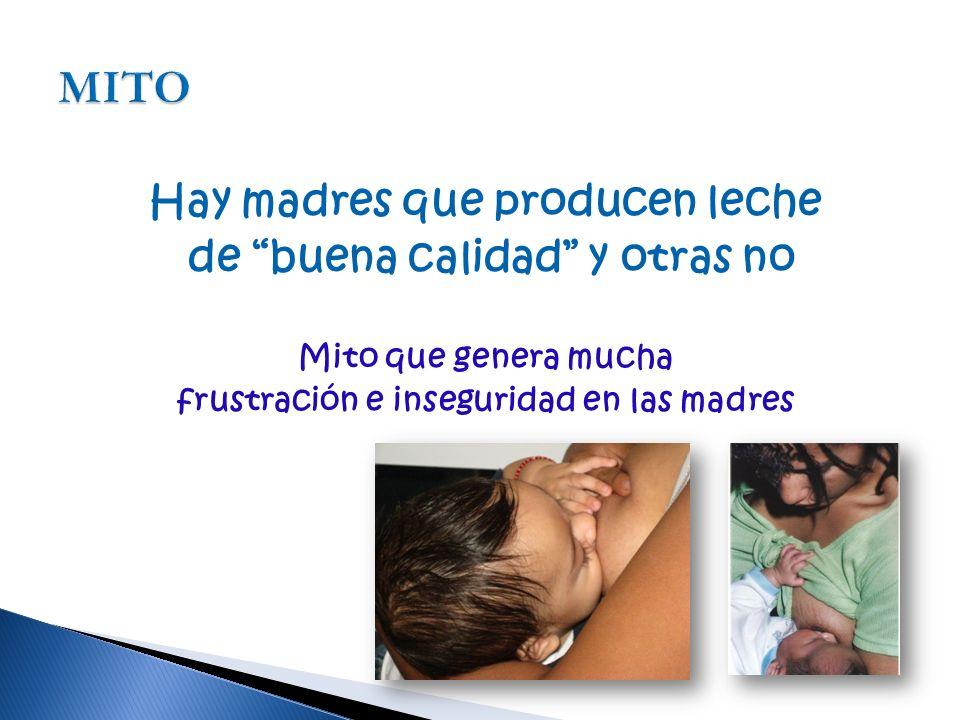Hay madres que producen leche de buena calidad y otras no Mito que genera mucha frustración e inseguridad en las madres