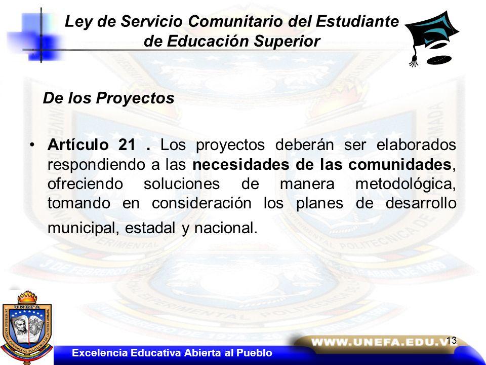 De los Proyectos Artículo 21. Los proyectos deberán ser elaborados respondiendo a las necesidades de las comunidades, ofreciendo soluciones de manera