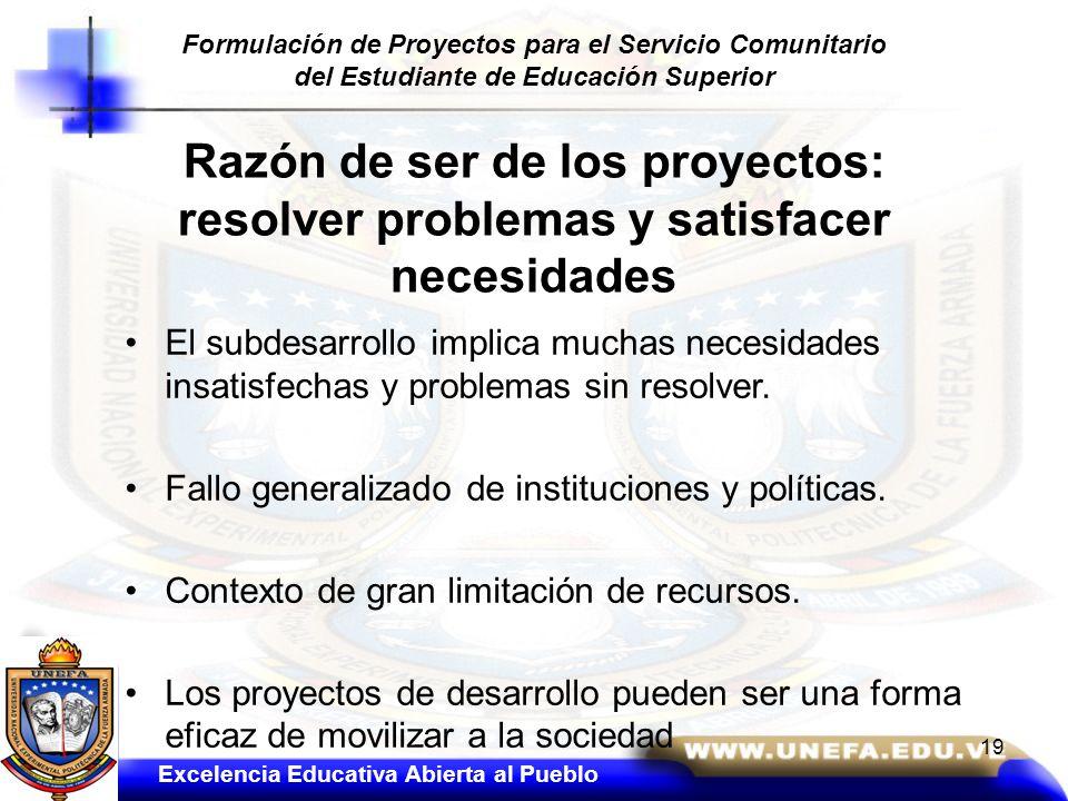 Razón de ser de los proyectos: resolver problemas y satisfacer necesidades El subdesarrollo implica muchas necesidades insatisfechas y problemas sin r