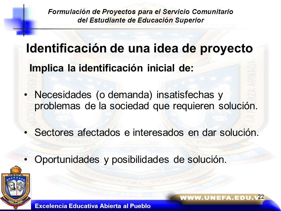 Identificación de una idea de proyecto Implica la identificación inicial de: Necesidades (o demanda) insatisfechas y problemas de la sociedad que requ