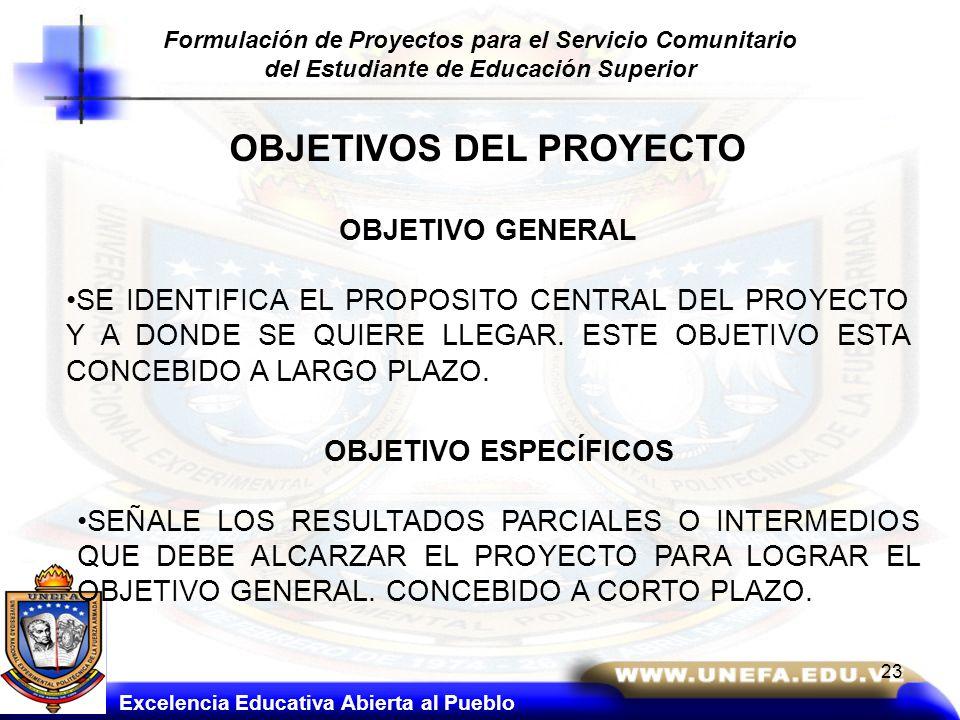 Formulación de Proyectos para el Servicio Comunitario del Estudiante de Educación Superior OBJETIVO GENERAL SE IDENTIFICA EL PROPOSITO CENTRAL DEL PRO