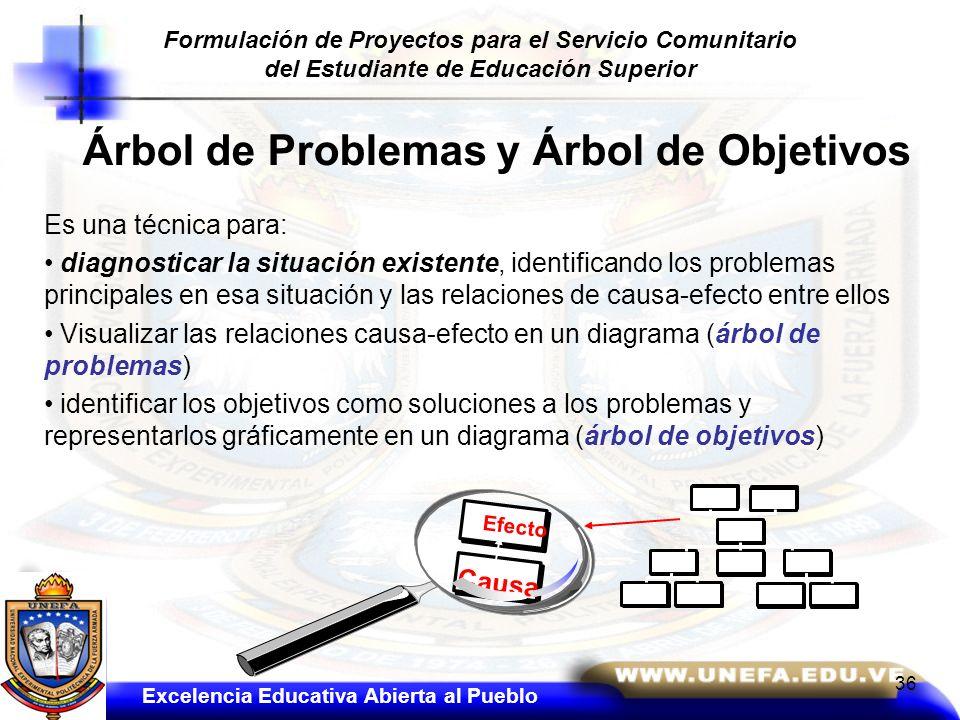 Árbol de Problemas y Árbol de Objetivos Es una técnica para: diagnosticar la situación existente, identificando los problemas principales en esa situa