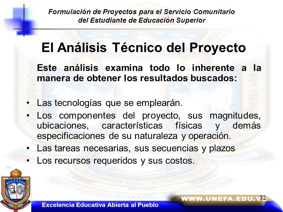 El Análisis Técnico del Proyecto Este análisis examina todo lo inherente a la manera de obtener los resultados buscados: Las tecnologías que se emplea