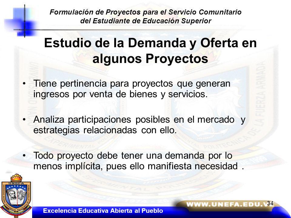 Estudio de la Demanda y Oferta en algunos Proyectos Tiene pertinencia para proyectos que generan ingresos por venta de bienes y servicios. Analiza par