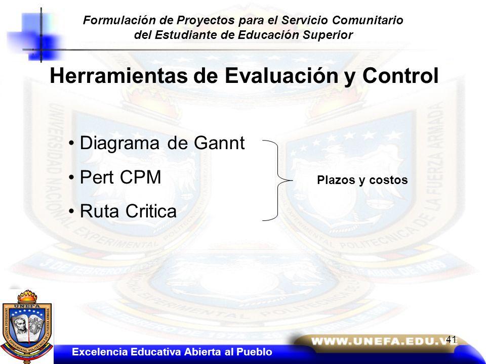 Herramientas de Evaluación y Control Diagrama de Gannt Pert CPM Ruta Critica Plazos y costos Excelencia Educativa Abierta al Pueblo Formulación de Pro