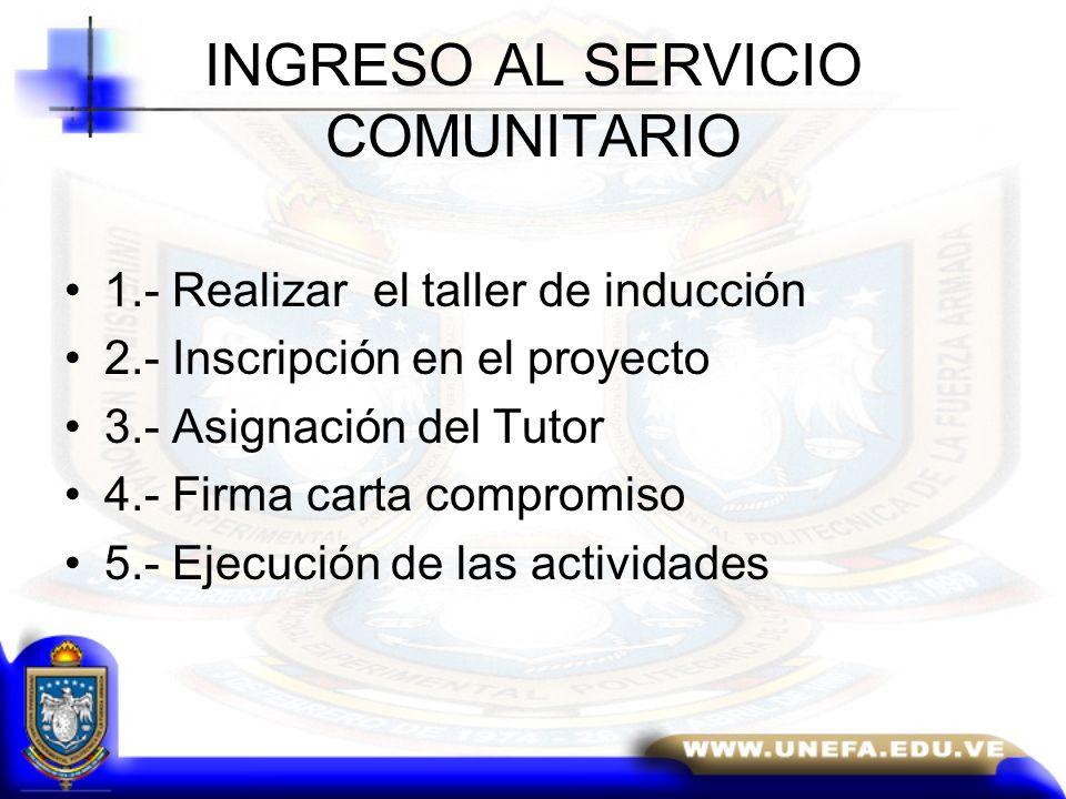 INGRESO AL SERVICIO COMUNITARIO 1.- Realizar el taller de inducción 2.- Inscripción en el proyecto 3.- Asignación del Tutor 4.- Firma carta compromiso