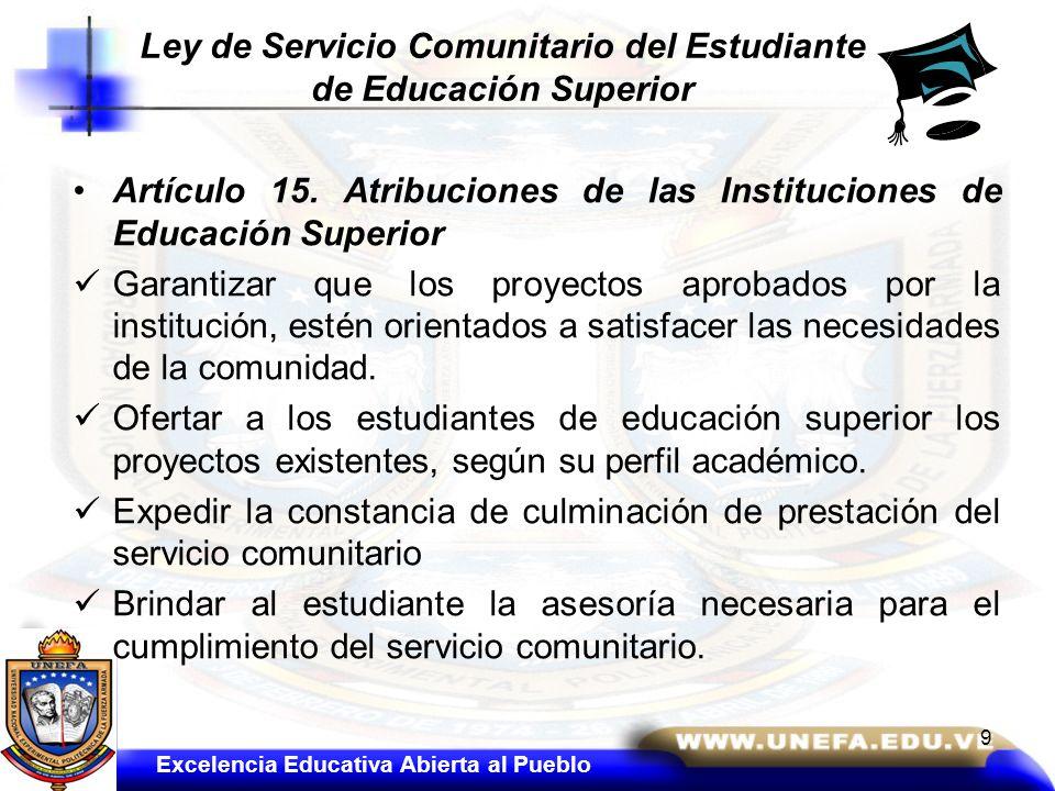 Artículo 15. Atribuciones de las Instituciones de Educación Superior Garantizar que los proyectos aprobados por la institución, estén orientados a sat