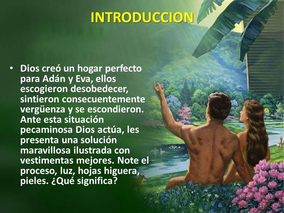 INTRODUCCION Dios creó un hogar perfecto para Adán y Eva, ellos escogieron desobedecer, sintieron consecuentemente vergüenza y se escondieron.