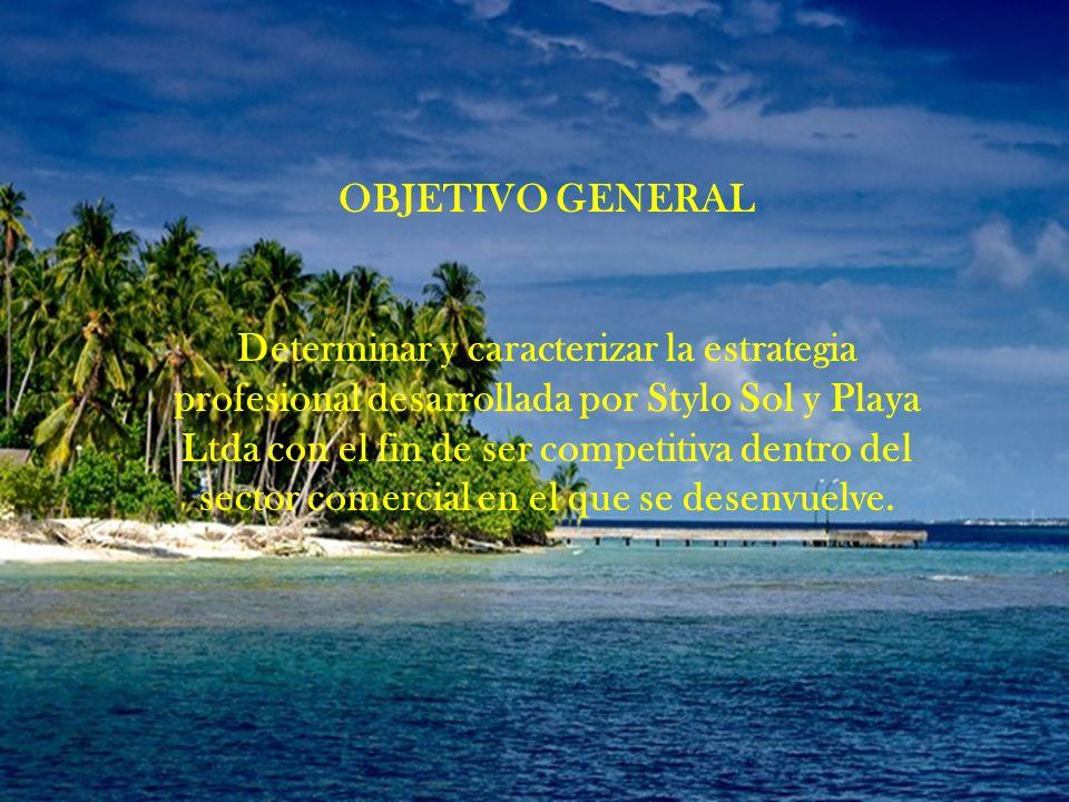 OBJETIVO GENERAL Determinar y caracterizar la estrategia profesional desarrollada por Stylo Sol y Playa Ltda con el fin de ser competitiva dentro del sector comercial en el que se desenvuelve.
