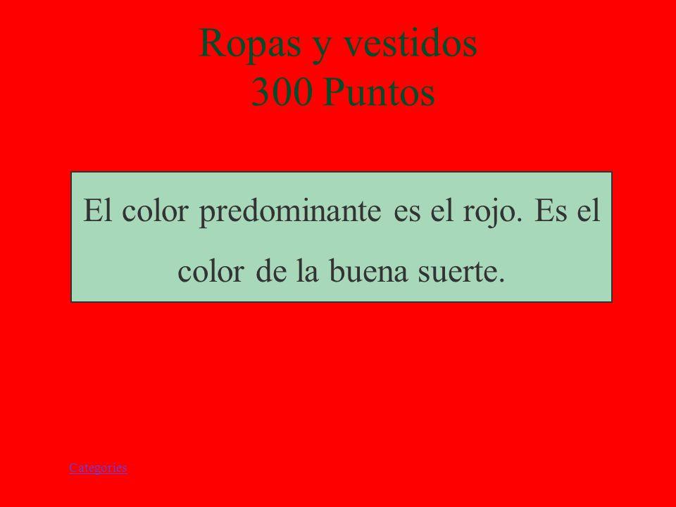 Categories Ropa y Vestidos 300 Puntos ¿Cúal es el color predominante en las ropas de las personas? ¿Por qué?