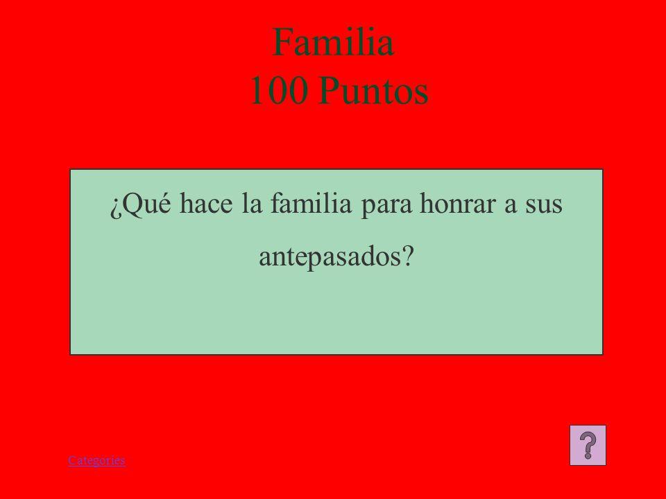 Categories ¿Qué hace la familia para honrar a sus antepasados? Familia 100 Puntos