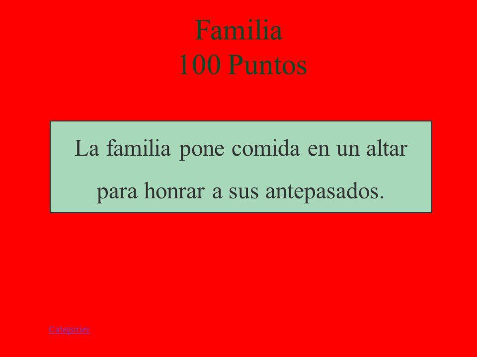 Categories Familia 100 Puntos La familia pone comida en un altar para honrar a sus antepasados.
