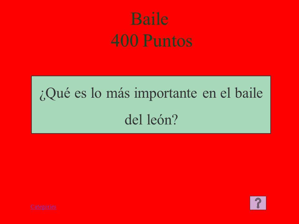 Categories Baile 300 Puntos El buda es quien guia al león durante el baile.