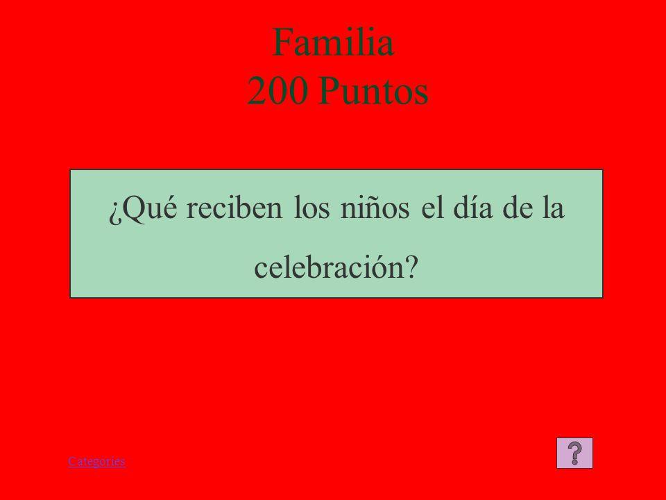 Categories Familia 200 Puntos ¿Qué reciben los niños el día de la celebración?
