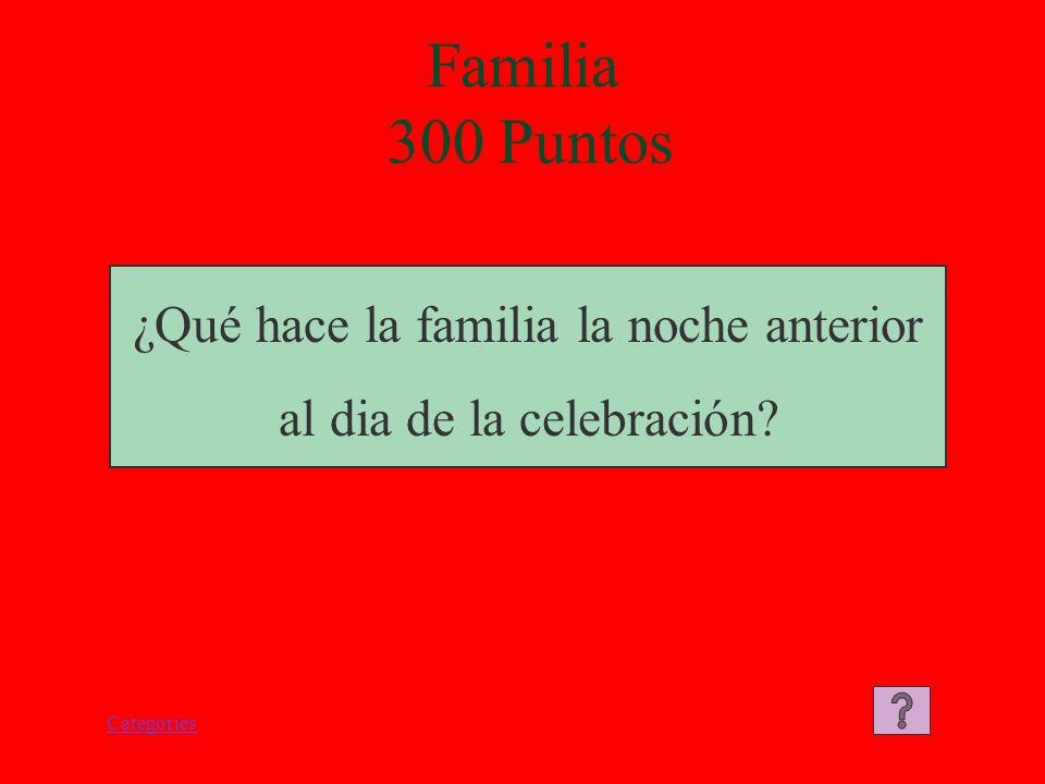 Categories Familia 300 Puntos ¿Qué hace la familia la noche anterior al dia de la celebración?