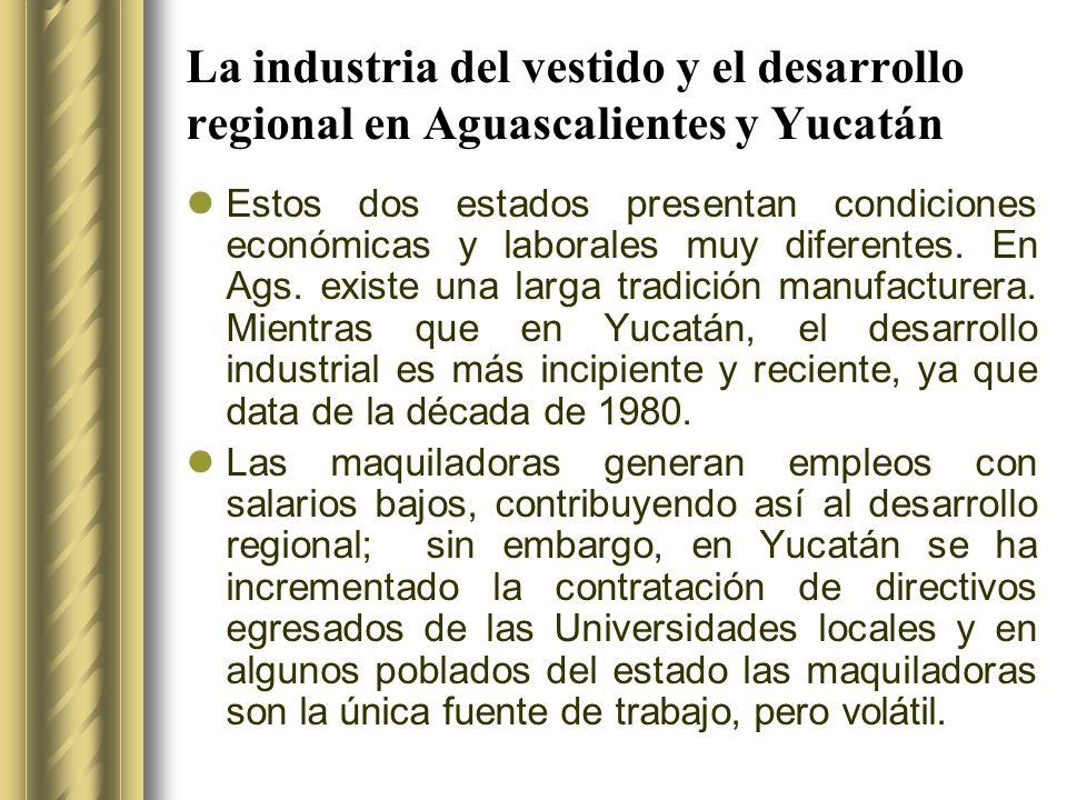 La industria del vestido y el desarrollo regional en Aguascalientes y Yucatán Estos dos estados presentan condiciones económicas y laborales muy difer