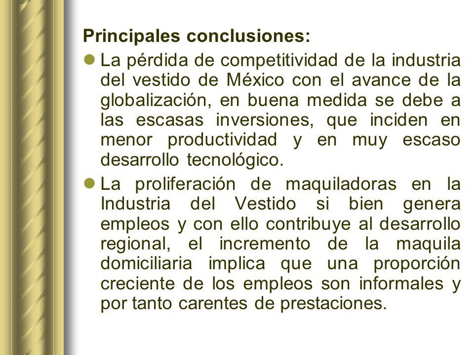 Principales conclusiones: La pérdida de competitividad de la industria del vestido de México con el avance de la globalización, en buena medida se deb