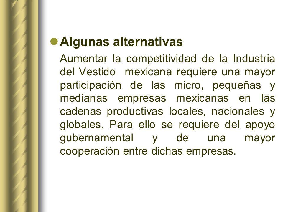 Algunas alternativas Aumentar la competitividad de la Industria del Vestido mexicana requiere una mayor participación de las micro, pequeñas y mediana