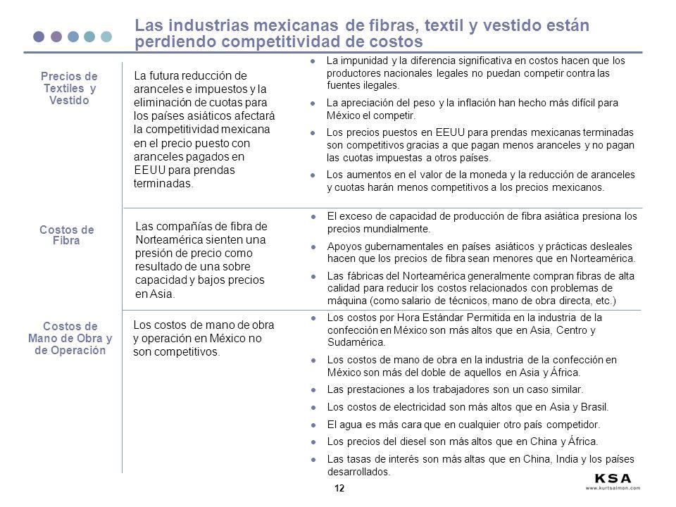 12 Las industrias mexicanas de fibras, textil y vestido están perdiendo competitividad de costos Costos de Fibra Las compañías de fibra de Norteamérica sienten una presión de precio como resultado de una sobre capacidad y bajos precios en Asia.