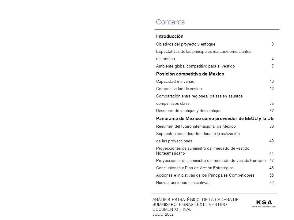 Contents Introducción Objetivos del proyecto y enfoque3 Expectativas de las principales marcas/comerciantes minoristas 4 Ambiente global competitivo para el vestido 7 Posición competitiva de México Capacidad e inversión 10 Competitividad de costos 12 Comparación entre regiones/ países en asuntos competitivos clave36 Resumen de ventajas y desventajas37 Panorama de México como proveedor de EEUU y la UE Resumen del futuro internacional de México38 Supuestos considerados durante la realización de las proyecciones40 Proyecciones de suministro del mercado de vestido Norteamericano41 Proyecciones de suministro del mercado de vestido Europeo47 Conclusiones y Plan de Acción Estratégico48 Acciones e iniciativas de los Principales Competidores55 Nuevas acciones e iniciativas62 ANÁLISIS ESTRATÉGICO DE LA CADENA DE SUMINISTRO FIBRAS-TEXTIL-VESTIDO DOCUMENTO FINAL JULIO 2002