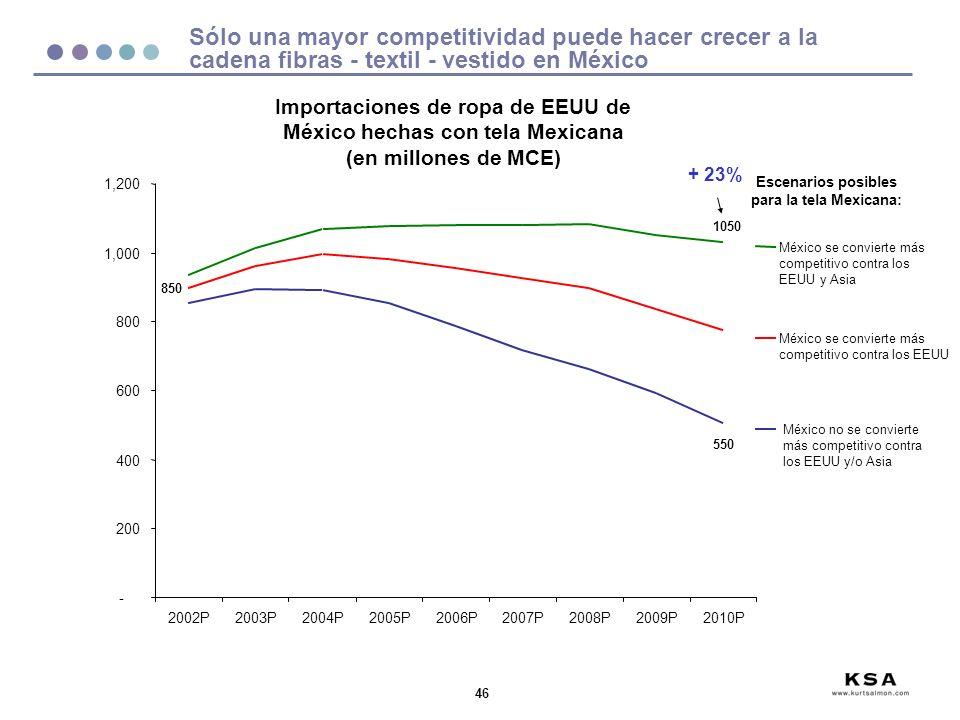 46 Sólo una mayor competitividad puede hacer crecer a la cadena fibras - textil - vestido en México - 200 400 600 800 1,000 1,200 2002P2003P2004P2005P2006P2007P2008P2009P2010P México se convierte más competitivo contra los EEUU y Asia México no se convierte más competitivo contra los EEUU y/o Asia Escenarios posibles para la tela Mexicana: Importaciones de ropa de EEUU de México hechas con tela Mexicana (en millones de MCE) México se convierte más competitivo contra los EEUU 850 1050 550 + 23%