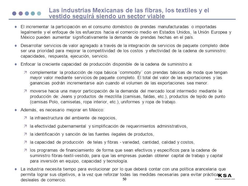 50 Las industrias Mexicanas de las fibras, los textiles y el vestido seguirá siendo un sector viable l El incrementar la participación en el consumo doméstico de prendas manufacturadas o importadas legalmente y el enfoque de los esfuerzos hacia el comercio medio en Estados Unidos, la Unión Europea y México pueden aumentar significativamente la demanda de prendas hechas en el país.