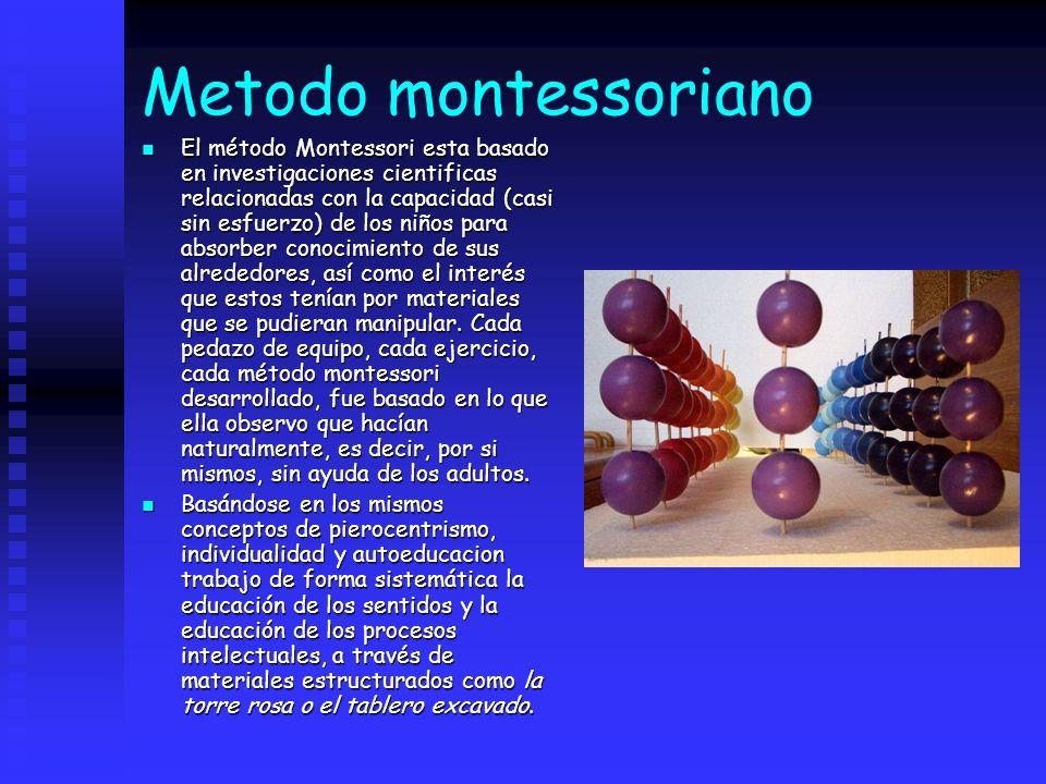 Metodo montessoriano El método Montessori esta basado en investigaciones cientificas relacionadas con la capacidad (casi sin esfuerzo) de los niños pa