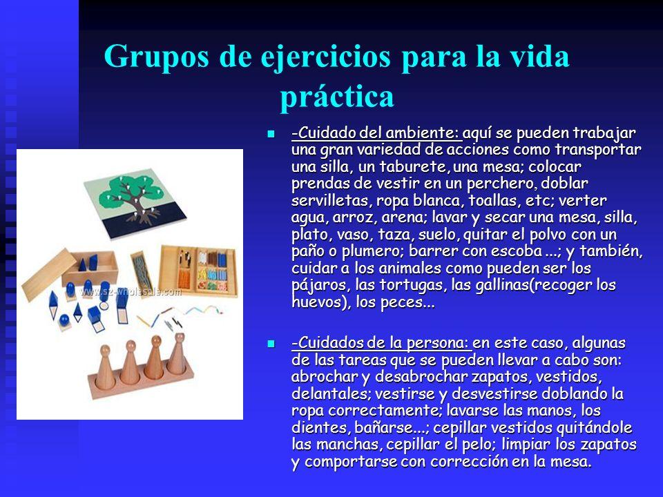 Grupos de ejercicios para la vida práctica -Cuidado del ambiente: aquí se pueden trabajar una gran variedad de acciones como transportar una silla, un